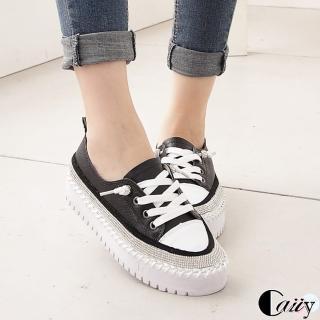【Caiiy】真皮水鑽低調奢華綁帶休閒平底鞋D258(黑色/白色)  Caiiy