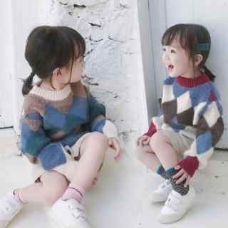 【小衣衫童裝】男女童時尚稜形幾何拼色長袖毛衣(1071113)  小衣衫童裝