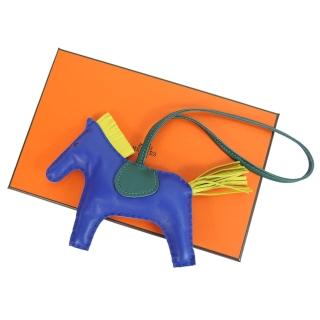 【Hermes 愛馬仕】小羊皮手工馬兒吊飾(中/靛藍)  Hermes 愛馬仕