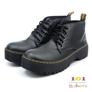【101玩Shoes】mit. 馬丁風綁帶底筒厚底短靴(黑色.36-40碼)強力推薦  101玩Shoes