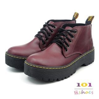 【101玩Shoes】mit. 馬丁風綁帶底筒厚底短靴(酒紅色.36-40碼)真心推薦  101玩Shoes