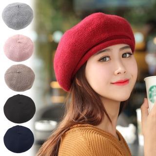 【幸福揚邑】畫家文青風保暖針織顯瘦貝蕾毛線帽(六色可選)  幸福揚邑
