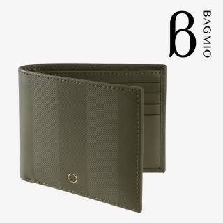 【BAGMIO】authentic 牛皮8卡短夾-橄欖綠真心推薦  BAGMIO