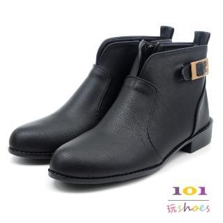 【101玩Shoes】mit. V領質感氣質低跟踝靴(黑色.36-40碼)  101玩Shoes