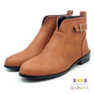 【101玩Shoes】mit. V領質感氣質低跟踝靴(棕色.36-40碼)  101玩Shoes