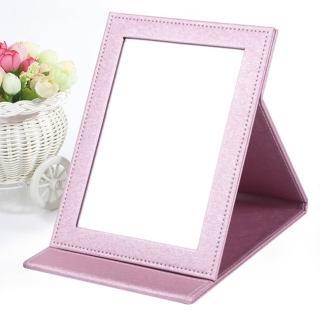 【幸福揚邑】7吋絲光銀皮革折疊鏡/隨身彩妝化妝桌鏡立鏡(絢麗粉)  幸福揚邑