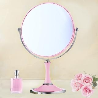 【幸福揚邑】8吋超大歐式時尚梳妝美容化妝放大雙面桌鏡(圓鏡-粉紅)  幸福揚邑