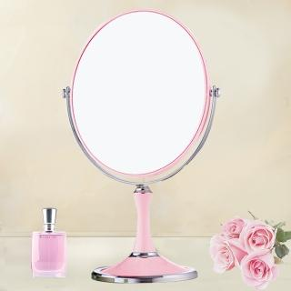 【幸福揚邑】8吋超大歐式時尚梳妝美容化妝放大雙面桌鏡(橢圓鏡-粉紅)  幸福揚邑