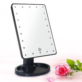 【幸福揚邑】10吋超大22燈LED可翻轉觸控亮度調整美顏化妝桌鏡-黑 推薦  幸福揚邑