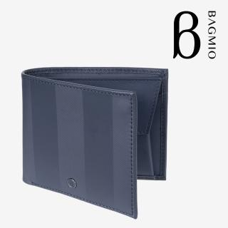 【BAGMIO】牛皮4卡零錢包短夾-午夜藍  BAGMIO