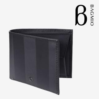 【BAGMIO】牛皮4卡零錢包短夾-墨黑  BAGMIO