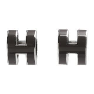 【Hermes 愛馬仕】經典POP立體H LOGO簍空橢圓穿式耳環(暗灰X銀H608001F-Gris etain-ARG)  Hermes 愛馬仕