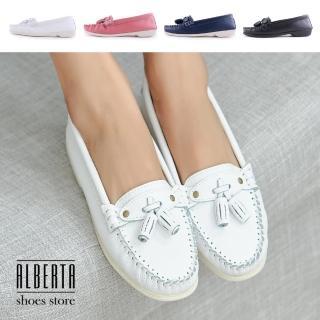 【Alberta】休閒鞋-MIT台灣製 真皮乳膠鞋墊 純色百搭休閒鞋 莫卡辛鞋 簡約款通勤鞋 小白鞋  Alberta
