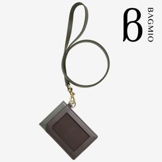 【BAGMIO】fusion 系列牛皮直式證件套-棕綠 含皮背帶 推薦  BAGMIO