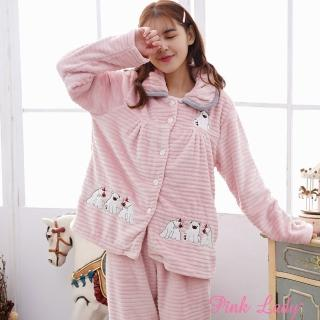 【PINK LADY】保暖法蘭絨長袖成套睡衣 呆萌小熊(粉)  PINK LADY