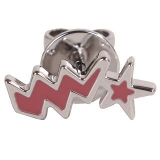 【agnes b.】星星閃電穿式耳環(桃粉底銀邊/單隻)推薦折扣  agnes b.