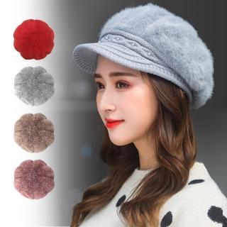 【幸福揚邑】優雅珍珠兔毛保暖加絨小顏針織毛線帽  幸福揚邑