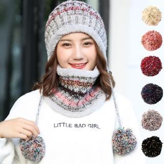 【幸福揚邑】英倫圍脖甜美吊球針織保暖口罩圍脖毛線帽兩件套好評推薦  幸福揚邑