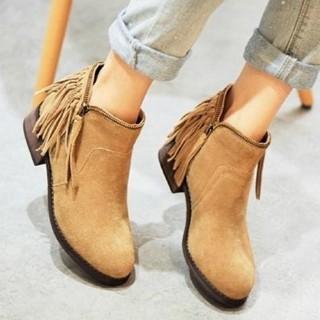 【米蘭精品】真皮短靴流蘇靴(歐美馬丁靴低跟側拉鍊女靴子2色72a13)  米蘭精品