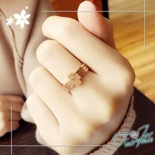 【伊飾童話】四葉草之心*鈦鋼玫瑰金戒指三入組  伊飾童話