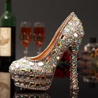 【米蘭精品】圓頭高跟鞋水晶婚鞋(獨特個性炫彩亮麗女鞋子73e17)  米蘭精品
