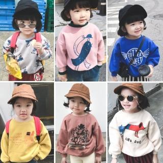【小衣衫童裝】中小童可愛圓領韓風卡童印花刷毛長袖T恤(1071025)  小衣衫童裝