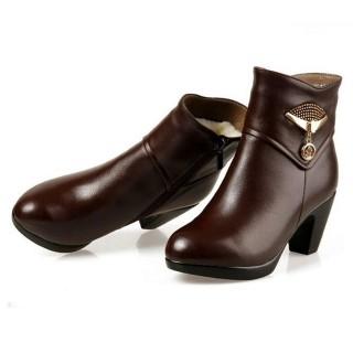 【米蘭精品】高跟短靴馬丁靴(時尚百搭帥氣真皮女靴子2色62d40)  米蘭精品