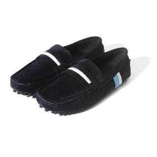 【米蘭精品】懶人鞋真皮線條豆豆鞋(時尚休閒磨砂套腳男鞋4色73kv89)  米蘭精品