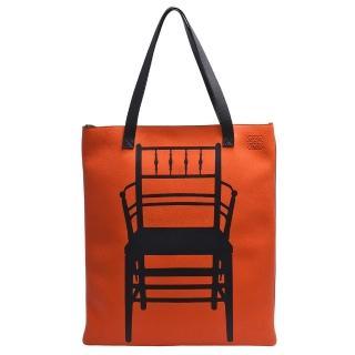 【LOEWE 羅威】威廉莫里斯座椅圖飾小牛皮肩背托特包(亮橘X黑312.12.S65)強力推薦  LOEWE 羅威