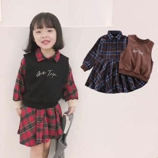 【小衣衫童裝】中小女童英倫風格子襯衫裙搭小背心套裝(1071106)  小衣衫童裝