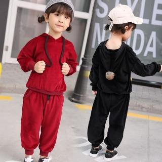 【小衣衫童裝】中性款男女童毛球連帽銀狐絨時尚套裝(1071015) 推薦  小衣衫童裝