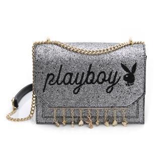 【PLAYBOY】鏈帶斜背包 星空撲克系列(灰色) 推薦  PLAYBOY