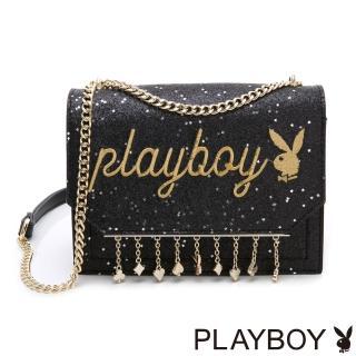 【PLAYBOY】鏈帶斜背包 星空撲克系列(黑色)推薦折扣  PLAYBOY