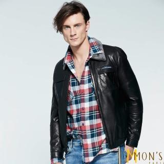 【MON'S】羔羊毛領飛行員皮衣夾克外套(100%羊皮)真心推薦  MON'S
