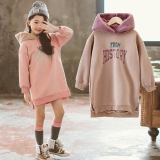 【小衣衫童裝】中大童莫蘭迪撞色連帽加絨長袖上衣(1071121)  小衣衫童裝