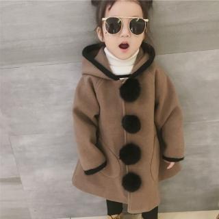 【小衣衫童裝】中小童可愛毛毛球連帽大衣毛呢外套(1071128)好評推薦  小衣衫童裝
