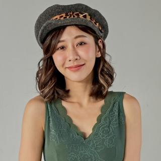 【Wonderland】豹紋金屬貝雷帽(深灰)  Wonderland