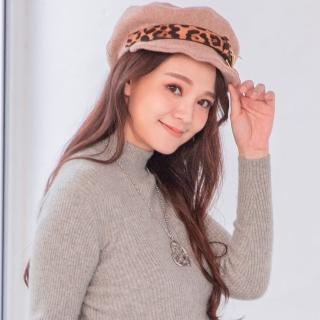 【Wonderland】豹紋金屬貝雷帽(卡其)  Wonderland