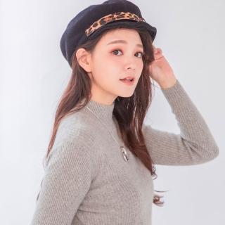 【Wonderland】豹紋金屬貝雷帽(黑色) 推薦  Wonderland