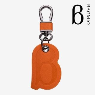 【BAGMIO】Logo牛皮鑰匙圈 - 活力橘  BAGMIO