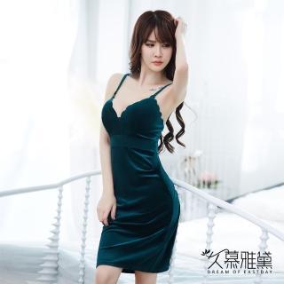 【久慕雅黛】金絲絨性感V領優雅吊帶裙(森林綠)真心推薦  久慕雅黛