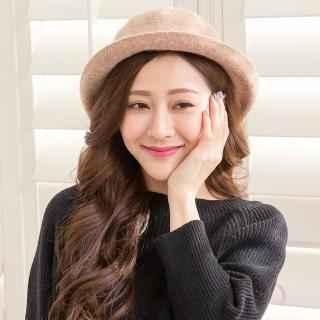 【Wonderland】韓版復古百搭羊毛盆帽(卡其)強力推薦  Wonderland