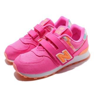 【NEW BALANCE】慢跑鞋 YV574OLW 寬楦 運動 童鞋 紐巴倫 透氣 舒適 魔鬼氈 球鞋 中童 粉 橘(YV574OLW)  NEW BALANCE