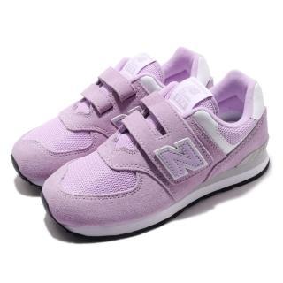 【NEW BALANCE】慢跑鞋 YV574EMW 寬楦 運動 童鞋 紐巴倫 透氣 舒適 魔鬼氈 球鞋 中童 粉紫 白(YV574EMW)  NEW BALANCE