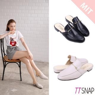 【TTSNAP】穆勒鞋-簡約細絲金屬方頭鞋(黑/米)好評推薦  TTSNAP