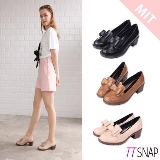 【TTSNAP】紳士鞋-可愛訂製款雙層蝴蝶結中跟鞋(黑/棕/米) 推薦  TTSNAP