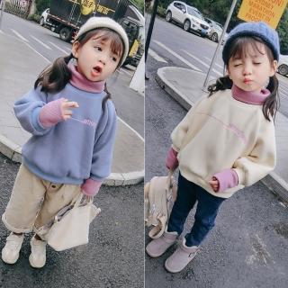 【小衣衫童裝】兒童秋冬粉彩撞色假2件刷毛長袖 t恤(1071202)  小衣衫童裝