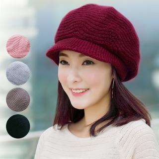 【幸福揚邑】雙層保暖護耳小顏針織鴨舌貝蕾帽小臉兔毛線帽(5色可選)真心推薦  幸福揚邑