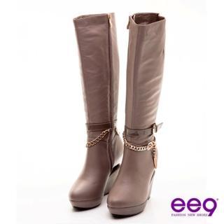 【ee9】心滿益足~高挑名模獨家金屬造型跟長靴~精緻可可(長靴) 推薦  ee9