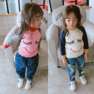 【小衣衫童裝】中小童可愛卡通微笑插肩拼色長袖針織衫(1071022)  小衣衫童裝